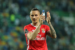 April 22, 2017 - Lisbon, Lisbon, Portugal - Benficas midfielder Ljubomir Fejsa from Serbia thanking the supporters at the end of the match during Premier League 2016/17 match between Sporting CP and SL Benfica, at Alvalade Stadium in Lisbon on April 22, 2017. (Credit Image: © Dpi/NurPhoto via ZUMA Press)