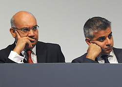 © Licensed to London News Pictures. 28/09/2011. LONDON, UK. (L-R) Keith Vaz MP sits with Sadiq Khan MP, Shadow Justice Secretary, at The Labour Party Conference in Liverpool today (28/09/11). Photo credit:  Stephen Simpson/LNP