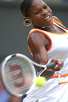 Serena Williams (USA) in action in the Final. Womens Singles Final Wimbledon Tennis Championship, Day 12, 5/07/2003. Credit: Colorsport / Matthew Impey DIGITAL FILE ONLY