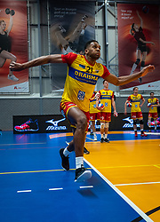 Nathan Fullerton of Dynamo in action during the cup final between Amysoft Lycurgus vs. Draisma Dynamo on April 18, 2021 in sports hall Alfa College in Groningen