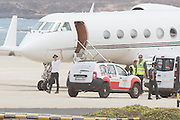 """EXCLUSIVE<br /> Brad Pitt leaving on a private plane Fuerteventura after filming his latest movie, World War II , """"Allied,""""  dressed in world war clothing as he stands while a car approaches him<br /> ©Exclusivepix Media"""