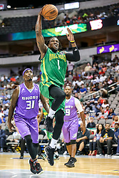 August 17, 2018 - Dallas, TX, U.S. - DALLAS, TX - AUGUST 17: Ball Hogs Jermaine Taylor #1 goes for a dunk as Ghost Ballers Ricky Davis #31 watches during the Big 3 Basketball playoff game between the Ghost Ballers and the Ball Hogs on August 17, 2018 at the American Airlines Center in Dallas, Texas. The Ball Hogs defeated the Ghost Ballers 50-35. (Photo by Matthew Pearce/Icon Sportswire) (Credit Image: © Matthew Pearce/Icon SMI via ZUMA Press)