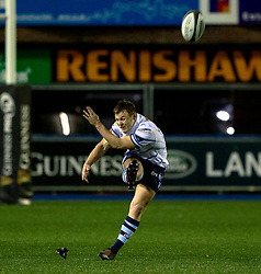 Jarrod Evans of Cardiff Blues kicks a penalty <br /> <br /> Photographer Simon King/Replay Images<br /> <br /> Guinness PRO14 Round 15 - Cardiff Blues v Glasgow Warriors - Saturday 16th February 2019 - Cardiff Arms Park - Cardiff<br /> <br /> World Copyright © Replay Images . All rights reserved. info@replayimages.co.uk - http://replayimages.co.uk