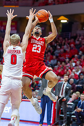 NORMAL, IL - February 16: Isaac Gassman defends Dwayne Lautier-Ogunleye during a college basketball game between the ISU Redbirds and the Bradley Braves on February 16 2019 at Redbird Arena in Normal, IL. (Photo by Alan Look)