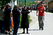 """Gjilan, (eastern) Kosovo<br /> Monday, May 11, 2009<br /> <br /> Serbs of Pasjan village by the eastern area of Kosovo, Gjilan, have protested today against Kosovo Electricity Corporation (KEK), who disconnects them by electricity supply, two weeks ago. <br /> <br /> About 100 protesters, around 45 minutes, today have blocked the road which connects Gjilani region with Presevo valley. KEK's decision for the villages to have had little or no electricity for months because Serb residents have refused to pay Kosovo's ethnic Albanian-run power company. The Serbs want neighboring Serbia to provide their electricity supply instead. """"This is a political problem. We have information that Thaci has disconnected us from the electricity supply, in order to provide his business by selling us generators for electricity, ìsaid the old granny in the village of Pasjan.îEven Albanians are not paying electricity,î she recalled. The protest started around 1200 o clock, protesters have been distributed around after 45 minutes. Meanwhile, last night the situation was more tense protests in the ethnically Serb 2 villages inhabited by Serbs of Kamenica region, in Korminjan and Ranillug. Kosovo's residents did not pay electricity charges while the territory was under UN administration before it declared independence. Kosovo unilaterally declared its independence from Serbia in February 2008, something which the Serbian government in Belgrade has refused to recognize.<br /> <br /> PICTURED: Some Serbian old womans standing guard to block the road, in order to express their anger against electricity cut in ethnic Serbs dominated villages of the eastern and south eastern Kosovo"""
