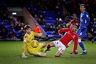 Charlton forward Karlan Ahearne-Grant (18) shoots just wide during the EFL Sky Bet League 1 match between Peterborough United and Charlton Athletic at London Road, Peterborough, England on 26 January 2019.
