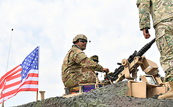 Aug. 1, 2018 - Tbilisi, Georgia - Soldiers take part in the multinational military drill named ''Noble Partner 2018'' at Vaziani base near Tbilisi, Georgia. The 13-nation military exercise ''Noble Partner 2018'' kicked off in Georgia's Vaziani military base on Wednesday with over 3,000 soldiers taking part, the Georgian Defense Ministry said. Armenia, Azerbaijan, Britain, Estonia, France, Georgia, Germany, Lithuania, Norway, Poland, Turkey, Ukraine and the United States are participating in the drills which will end on Aug. 16.   (Credit Image: © Kulumbegashvili Tamuna/Xinhua via ZUMA Wire)