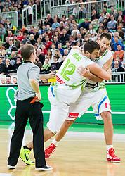 Marko Milic and Goran Jagodnik during basketball match between Slovenian football and basketball Legends at All-Stars Stozice 2014, on December 28, 2014 in Arena Stozice, Ljubljana, Slovenia. Photo by Vid Ponikvar / Sportida