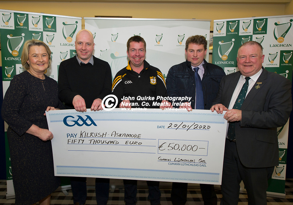 20-01-20. Leinster GAA Club Development Grant Cheque Presentations (See Press Release) at Aras Laighean, Portlaoise.<br /> GAA National Finance Manager Kathy Slattery and Jim Bolger (Right), Cathoirleach, Comhairle Laighean pictured presenting a cheque for €50,000 to Kilrush Askamore GAA Club, Co. Wexford represented by from left, John Donoghue, Treasurer. Frank Doyle, Chairman and David Tobin, Club Member.<br /> Photo: John Quirke / www.quirke.ie<br /> ©John Quirke Photography, Unit 17, Blackcastle Shopping Cte. Navan. Co. Meath. 046-9079044 / 087-2579454.