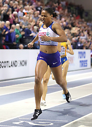 Great Britain's Shelayna Oskan-Clarke wins the Women's 800m Final during day three of the European Indoor Athletics Championships at the Emirates Arena, Glasgow.