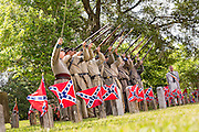 Civil War re-enactors fire a gun salute during Confederate Memorial Day events at Magnolia Cemetery April 10, 2014 in Charleston, SC. Confederate Memorial Day honors the approximately 258,000 Confederate soldiers that died in the American Civil War.