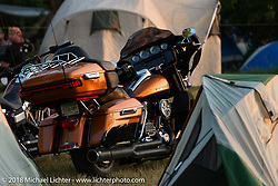 Camping at the Buffalo Chip during the 78th annual Sturgis Motorcycle Rally. Sturgis, SD. USA. Friday August 10, 2018. Photography ©2018 Michael Lichter.