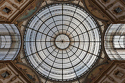 Low angle view of glass ceiling, Galleria Vittorio Emanuele II, Milan, Italy