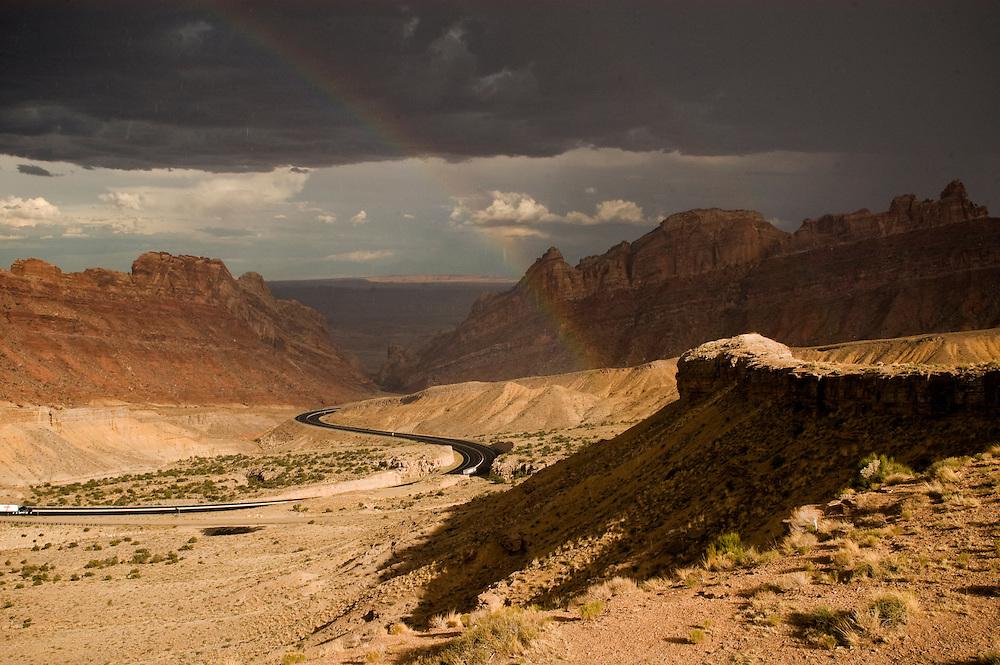 Sun shower with Rainbow in Utah