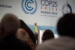 11 December 2019, Madrid, Spain: Greta Thunberg speaks in the plenary hall of COP25.