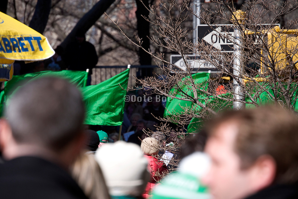 St. Patrick's day parade on 5th avenue New York City by Central park