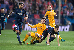 13.04.2016, Estadio Vicente Calderon, Madrid, ESP, UEFA CL, Atletico Madrid vs FC Barcelona, Viertelfinale, Rueckspiel, im Bild Atletico de Madrid's Augusto Fernandez and Lucas Hernandez and FC Barcelona Lionel Messi // during the UEFA Champions League Quaterfinal, 2nd Leg match between Atletico Madrid and FC Barcelona at the Estadio Vicente Calderon in Madrid, Spain on 2016/04/13. EXPA Pictures © 2016, PhotoCredit: EXPA/ Alterphotos/ BorjaB.Hojas<br /> <br /> *****ATTENTION - OUT of ESP, SUI*****