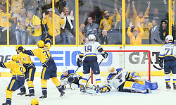 May 2, 2017 - Nashville, TN, USA - St. Louis Blues goaltender Jake Allen reacts after the Nashville Predators' Ryan Ellis, not pictured, scored the first goal of the game in the third period during Game 4 of the Western Conference semifinals on Tuesday, May 2, 2017, at the Bridgestone Arena in Nashville, Tenn. The Predators won, 2-1, for a 3-1 series lead. (Credit Image: © Chris Lee/TNS via ZUMA Wire)
