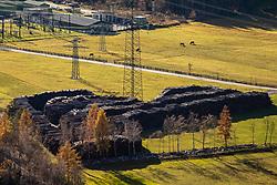 THEMENBILD - Enorm große Windwurfflächen erinnern in Osttirol an das Sturmtief Vaia, das Ende Oktober 2018 Teile des Bezirkes heimsuchte. Besonders stark in Mitleidenschaft gezogen wurden damals das Iseltal. Hier im Bild Baumstämme auf einem Holzlagerplatz im Huben. Aufgenommen in Oberpeischlach am Samstag 7. November 2020 // Enormously large windthrow areas in East Tyrol are reminiscent of the storm Vaia, which hit parts of the district at the end of October 2018. The Isel valley was particularly hard hit at that time. Here in the picture tree trunks on a timber stockyard in Huben. Osttirol, Austria on Saturday November 7th, 2020. EXPA Pictures © 2020, PhotoCredit: EXPA/ Johann Groder