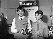 07/01/1983.01/07/1983.7th January 1983.The Aer Lingus Young Scientist Exhibition at the RDS, Dublin. ..Picture shows the winner Timothy Hickey from Colaiste De La Salle, Co. Cork being congratulated by his teacher Kevin Corcoran. ..