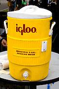 Yellow igloo water cooler dispenser. Special Olympics U of M Bierman Athletic Complex. Minneapolis Minnesota USA
