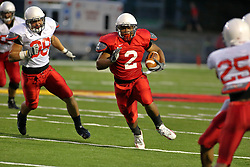 18 AUG 2007: Rafael Rice treks it towards the goal line. The Illinois State Redbirds, ranked in the top 10 in pre-season polls, prepare for the beginning of the season during the annual Red/White inter-squad scrimmage on the newly installed turf at Hancock stadium in Normal Illinois.