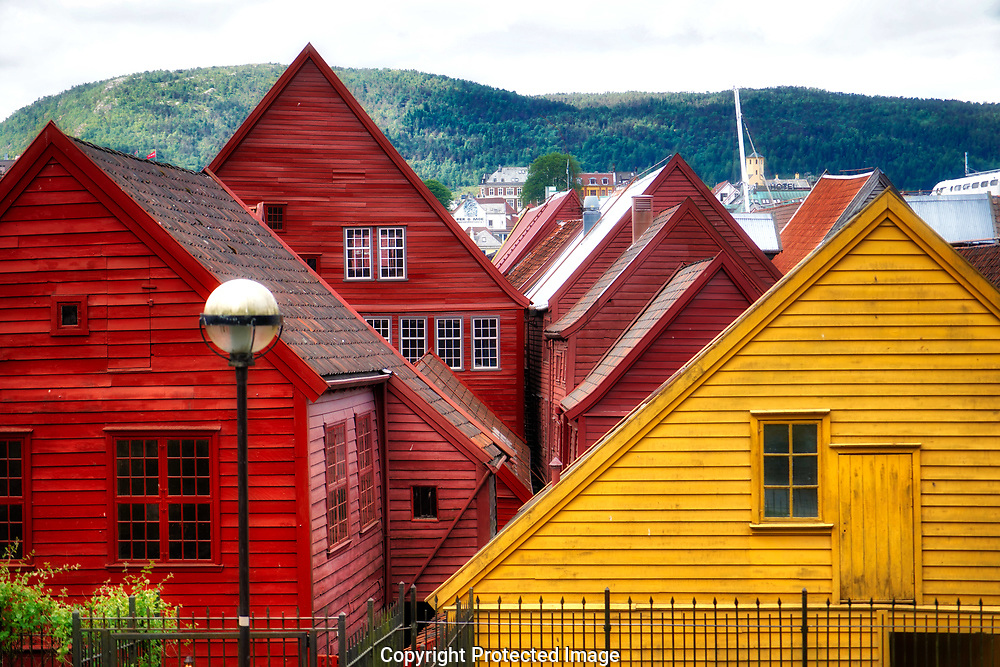 Bergen, Norway, 6/13/18. The  stores and wharf area on the UNESCO listed Bergen Wharf.  Bergen, the second largest city in Norway.<br /><br />Photo by Dennis Brack