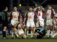 Photo: Jed Wee.<br /> Leeds Tykes v Bristol Rugby. Guinness Premiership. 10/02/2006.<br /> <br /> Bristol get no change out of Leeds or referee Dave Pearson as they finish the first half 17-6 down.