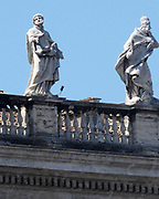 Architectural detail in Saint Peter's Square in the Vatican City, Italy. The actual square was designed by Gian Lorenzo Bernini.