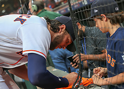 April 30, 2018 - Houston, TX, U.S. - HOUSTON, TX - APRIL 30:  Houston Astros center fielder Jake Marisnick (6) signs autographs for fans during the baseball game between the New York Yankees and Houston Astros on April 30, 2018 at Minute Maid Park in Houston, Texas.  (Photo by Leslie Plaza Johnson/Icon Sportswire) (Credit Image: © Leslie Plaza Johnson/Icon SMI via ZUMA Press)