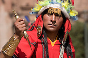 """The Turpuntay, or priest in charge of the cutting with the sacred knife called Tumi. Inti Raymi """"Festival of the Sun"""", Plaza de Armas, Cusco, Peru."""