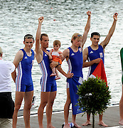 Ottensheim, AUSTRIA.  A  Final,  LM4X, Medals,  at the 2008 FISA Senior and Junior Rowing Championships,  Linz/Ottensheim. Sunday,  27/07/2008.  [Mandatory Credit: Peter SPURRIER, Intersport Images] Rowing Course: Linz/ Ottensheim, Austria