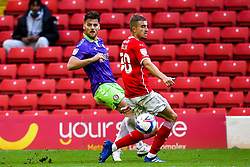 Chris Martin of Bristol City takes on Michal Helik of Barnsley - Mandatory by-line: Robbie Stephenson/JMP - 17/10/2020 - FOOTBALL - Oakwell Stadium - Barnsley, England - Barnsley v Bristol City - Sky Bet Championship