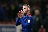 Wayne Rooney of Manchester Utd applauds the away fans at the end of the match.  Premier league match, Stoke City v Manchester Utd at the Bet365 Stadium in Stoke on Trent, Staffs on Saturday 21st January 2017.<br /> pic by Andrew Orchard, Andrew Orchard sports photography.