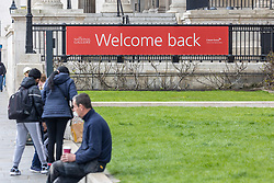 © Licensed to London News Pictures. 07/04/2021. London, UK. With less than 5 days before the great unlock-down, a welcome Back sign is displayed at the National Gallery in London.  This week Prime Minister, Boris Johnson announced that pubs, shops, gyms and hairdressers will be allowed to open to the public from this Monday, 12th April 2021 as England takes its first big steps out of the coronavirus pandemic restrictions. Photo credit: Alex Lentati/LNP