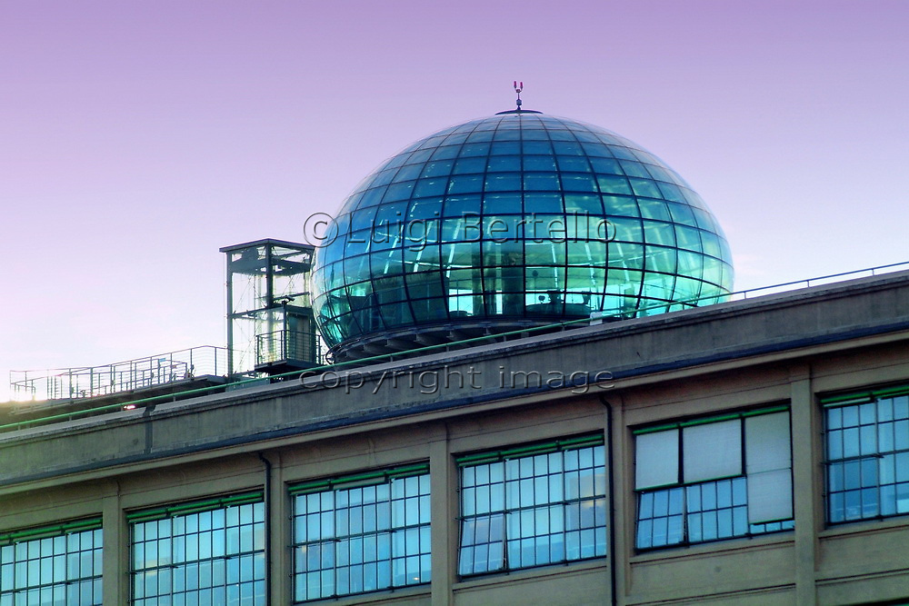 Turin, Piedmont/Italy. -04/29/2015- The glass bubble on the roof of the old Lingotto car factory designed by Renzo Piano.