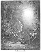 The Formation of Eve (or The Creation of Eve) Genesis 2:21-22 From the book 'Bible Gallery' Illustrated by Gustave Dore with Memoir of Doré and Descriptive Letter-press by Talbot W. Chambers D.D. Published by Cassell & Company Limited in London and simultaneously by Mame in Tours, France in 1866