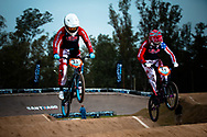 #33 (GEORGE Dani) USA and #11 (POST Alise) USA at the 2014 UCI BMX Supercross World Cup in Santiago Del Estero, Argentina.