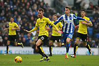 Football - 2016 / 2017 Sky Bet Championship - Brighton & Hove Albion vs. Burton Albion<br /> <br /> Tom Naylor of Burton Albion and Brighton's Solly March in action at the Amex Stadium Brighton<br /> <br /> COLORSPORT/SHAUN BOGGUST