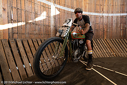 Wall of Death rider Rhett Rotten in his motodrome with Billy Lane's 1919 Harley-Davidson 61 inch model-F V-Twin during the Sturgis Black Hills Motorcycle Rally. Sturgis, SD, USA. Tuesday, August 6, 2019. Photography ©2019 Michael Lichter.