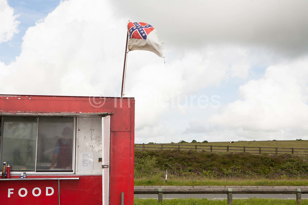 A red burger van, parked at Bodmin Moor layby along the A30, on the 23rd June 2008 in Bodmin in the United Kingdom.