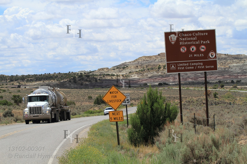 Truck hauls oil from wells near Chaco Culture National Historical Park, a reminder of encroaching threat from oil and gas industry, New Mexico.