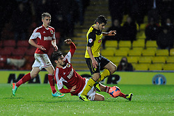 Bristol City's Marlon Pack tackles Watford's Marco Davide Faraoni - Photo mandatory by-line: Dougie Allward/JMP - Tel: Mobile: 07966 386802 14/01/2014 - SPORT - FOOTBALL - Vicarage Road - Watford - Watford v Bristol City - FA Cup - Third Round - replay