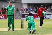 Ireland Captain William Porterfield catches Alex Hales of England, bowled by Peter Chase, during the One Day International match between England and Ireland at the Brightside County Ground, Bristol, United Kingdom on 5 May 2017. Photo by Andrew Lewis.