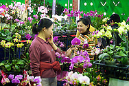 A friendly vendor helps a woman shop for orchids at the Jianguo Flower Market (??????) in Taipei, Taiwan.