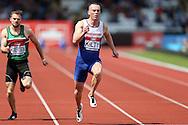 Richard Kilty competing in the Men's 100m Semi-Final race.The British Championships 2016, athletics event at the Alexander Stadium in Birmingham, Midlands  on Saturday 25th June 2016.<br /> pic by John Patrick Fletcher, Andrew Orchard sports photography.
