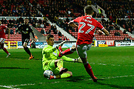 Substitute goalkeeper Jonathan Maddison (12) of Yeovil Town saves a shot from Scott Twine (27) of Swindon Town during the EFL Sky Bet League 2 match between Swindon Town and Yeovil Town at the County Ground, Swindon, England on 10 April 2018. Picture by Graham Hunt.