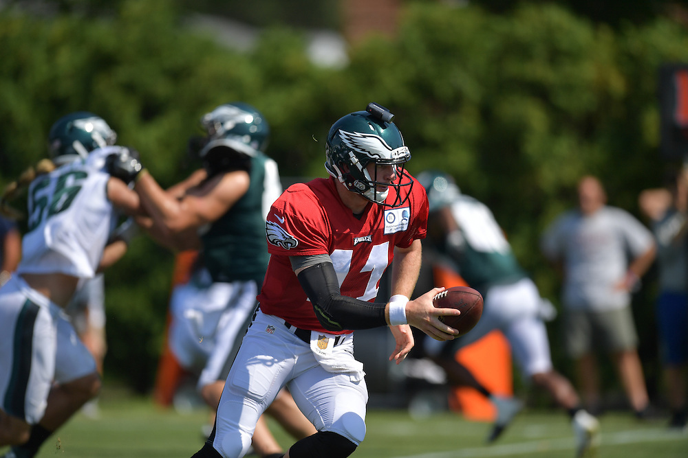 Carson Wentz The Philadelphia Eagles practice and fans watch during training camp at the NovaCare Complex on August 5, 2016 in Philadelphia, Pennsylvania. (Photo by Drew Hallowell/Philadelphia Eagles)
