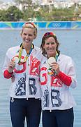 "Rio de Janeiro. BRAZIL. GBR W2X Silver Medalist. Left and Bow, Vicky THORNLEY and Katherine GRAINGER  2016 Olympic Rowing Regatta. Lagoa Stadium,<br /> Copacabana,  ""Olympic Summer Games""<br /> Rodrigo de Freitas Lagoon, Lagoa.   Thursday  11/08/2016 <br /> <br /> [Mandatory Credit; Peter SPURRIER/Intersport Images]"