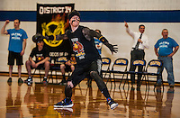 Senior Rich Edson winds up for dodge ball at Gilford High School's Winter Carnival games on Friday afternoon.  (Karen Bobotas/for the Laconia Daily Sun)